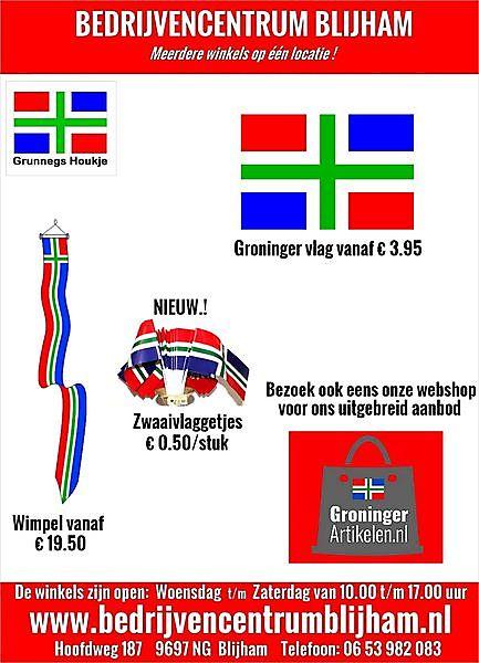 Groninger Vlaggen, Wimpels, Puntvlaggen ect  vanaf  € 3.95 Blijham