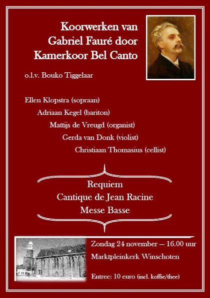 Kamerkoor Bel Canto zingt Fauré Winschoten