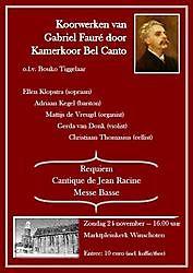 TourismusKamerkoor Bel Canto zingt Fauré Winschoten