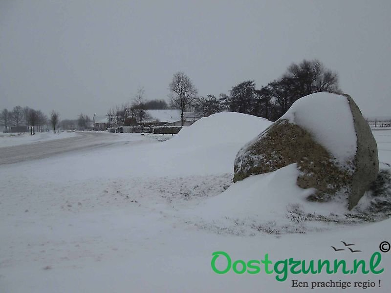 Veldkeien in de sneeuw Finsterwolde