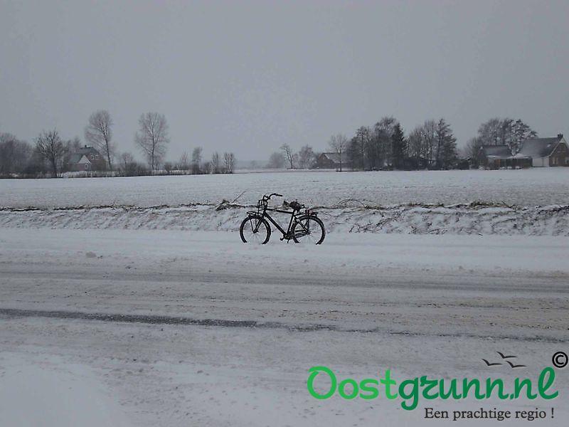Fietsen door de sneeuw Finsterwolde