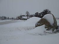 Veldkeien in de sneeuw Finsterwolde, Oldambt