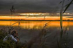 Ondergaande zon Winschoten, Oldambt
