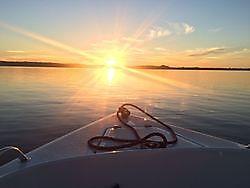 Zonsondergang vanaf de boot Oldambtmeer Blauwestad, Oldambt