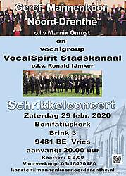 Vocalgroup VocalSpirit Stadskanaal en Geref. Mannenkoor Noord Drenthe in concert